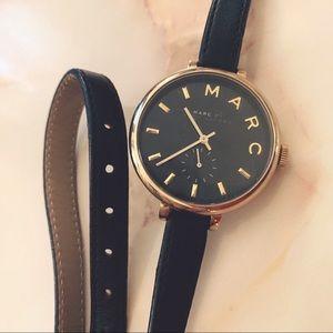 marc jacobs skinny black leather wrap-around watch